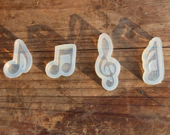 4 pcs Silicone mold, Note mould, mini pendant mold, many shapes pendant Silicone mold, earrings pendant, necklace pendant mold