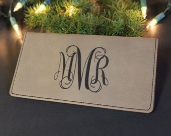 Personalized Faux Leather Checkbook Cover, Monogrammed Check Book Cover, Check Book Pocket, Engraved Checkbook Cover, Check Book Cover