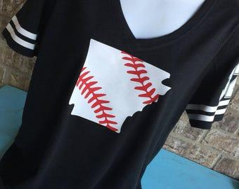V- Neck Arkansas Laces Baseball T-Shirt, Baseball mom shirt, Baseball Shirt, Baseball Mom, Baseball Mom Tee, Arkansas Baseball Shirt