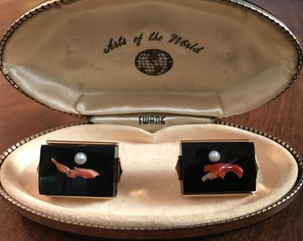RARE Vintage SWANK Red Coral and Cultured Pearl Cufflinks