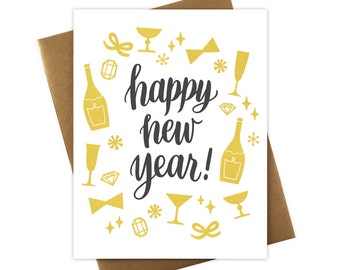 Happy New Year Card Champagne Bows and Fun