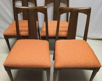 Vintage Set 4 Teak Danish Modern Mid Century Dining Room Chairs Pub Dinette Kitchen Retro Eames Era MidCentury Mod Cool Orange Seats