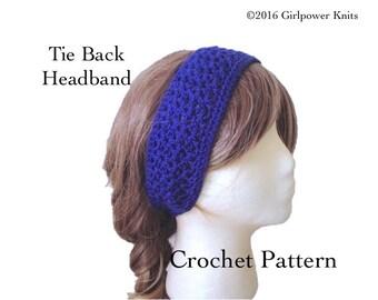 Easy Crochet Pattern, Tie Back Headband, Lacy Stitch, Quick Fast Crochet, Sport Weight Yarn