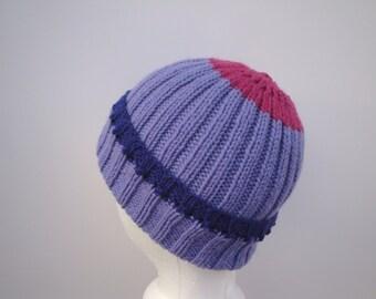 Women's Knit Beanie Hat, Purple Pink, Pure Wool, Watch Cap, Tween Teen Girls Warm Winter Hat