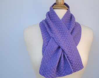 Violet Purple Scarf, Cashmere Neck Warmer, Keyhole Scarf, Pull Through Scarf, Hand Knit