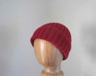 Burgundy Red Cap, Cashmere Knit Hat, Watch Cap, Beanie, Luxury Natural Fiber, Gift for Him Her, Men Women