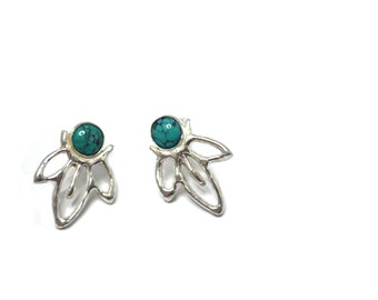 Turquoise and Sterling Silver 3 Point Stud Earrings / Metalsmithing / Lost Wax Casting / 4mm Turquoise / Handmade / Je T'Aimee Jewelry