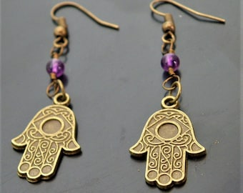 Amethyst Hamsa Earrings Jewelry Natural Nature Crystal Beads Vintage Antique Bronze Boho Chic Bohemian Hippie Gypsy Style Purple Indian