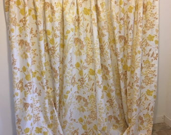 Vintage Curtains, Yellow Floral Curtains, Yellow Drapes, Long Flower Curtains, Vintage Curtain Panel