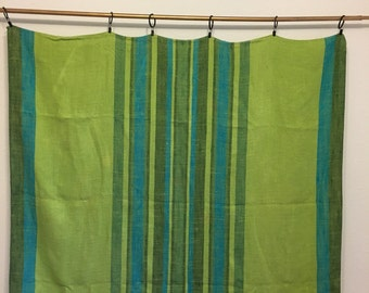 Vintage Tablecloth, Green Tablecloth, Striped Tablecloth, nubby linen tablecloth, vintage picnic blanket