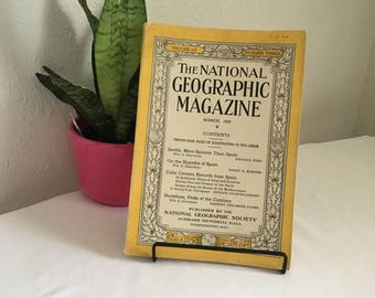Vintage Magazine, March 1929, National Geographic, free shipping US & Canada