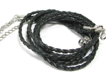 """Velvet / Imitation Leather Cord Necklace / L:18"""" with 2.5"""" Extension Chain / Thickness 3mm +- / 3 Pcs Per Unit"""