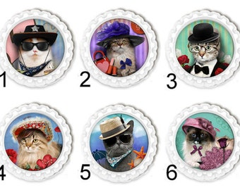 Cat In Hat Magnets Fridge Locker Office Kitchen Magnets Set of Six Cat Bookmark Zipper Pull Keyring