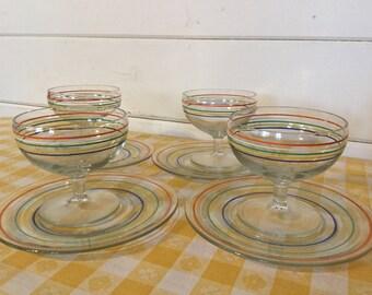 Set of Six Vinyage Striped Glass Dessert Bowls with Plates,Sherbert Bowls,Retro Serving