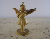 RESERVED FOR BETH T. Wood Finish Concertina Angel with Violin. 1960's Erzgebirge, Germany. Ore Mountains. Handicraft/folk art by Blank Manu.