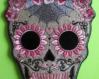 Extra Large Embroidered Sugar Skull Applique Patch, Roses, Spider Web, Pinks and Gray, Motorcycle Patch, Biker Patch, Iron On or Sew On