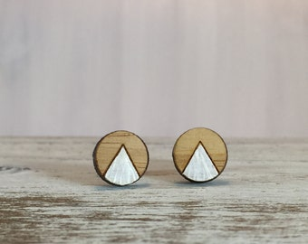 White Peak Round Studs // Disc Earrings // Bamboo Earrings // Geometric // Hypoallergenic  // Wood Jewelry //