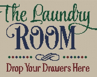 The Laundry Room Drop Your Drawers Cross Stitch Pattern Modern Style Design Instant Download pdf