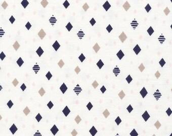 Diamonds Navy - Interlock Knits - Organic Cotton - Cloud 9 Fabrics - 1 Yard