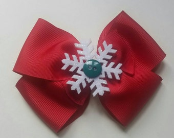 Red Bow with Snowflake Center , Holiday Bow, Christmas Bow