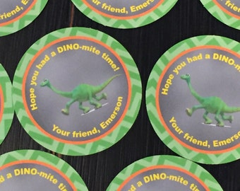 THE GOOD DINOSAUR Inspired Birthday or Baby Shower Baby Shower or Birthday Favor Tags or Stickers 12 {One Dozen} - Party Packs Available