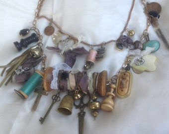 Handmade jewelry necklace chain gypsy boho upcycled vintage