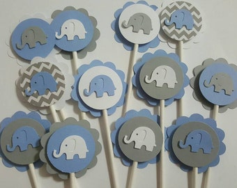12 Elephant blue cupcake pick toppers, chevron, baby shower, party decoration