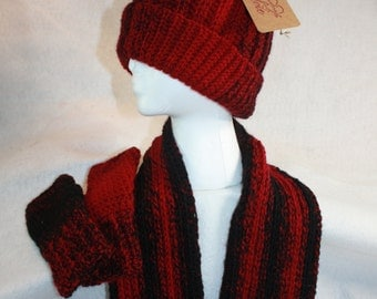 Double Wrap Infinity Cowl, Fingerless Gloves and Hat Set- Free Shipping