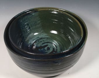 Mixing Bowl Set of 2 - Nesting Kitchen Mix Bowls - Monet Blue Green -Dining and Entertaining - Serving - Ceramics - Pottery - Stoneware