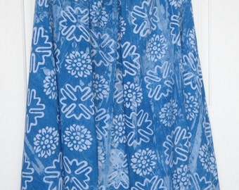 Shawl -Indigo dyed - Light weight cotton - Blue and White - Scarf Cold Winter Gear - Hand Stamped - Geometric Design