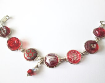 RED vintage glass button bracelet, silver links