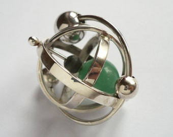 sterling silver kinetic armillary pendant