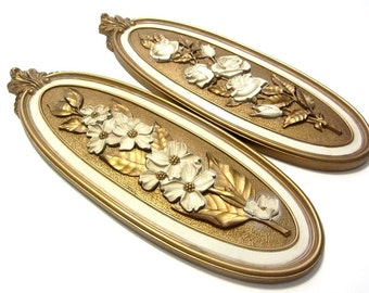 Syroco Roses and Dogwood Oval Wall Plaques Ornate Gold Floral Relief Cream Floral Accents Hollywood Regency