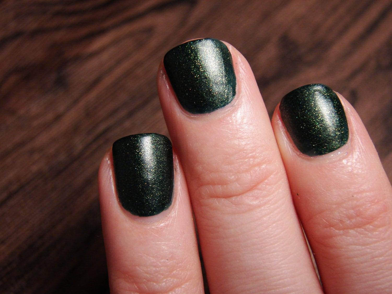 Holly Jolly - custom matte deep dark green gold shimmer nail polish ...