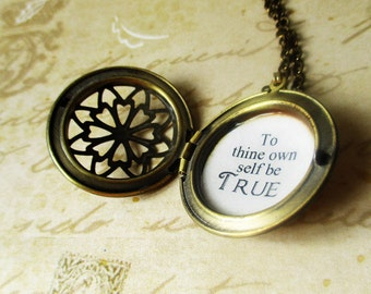 inspirational necklace Locket quote shakespeare to thine own self be true pendant jewelry for women with inspiring message pendant