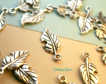 8 Leaf Charms, Double Sided Antique Silver Tone 22 x 10 mm  ts1165