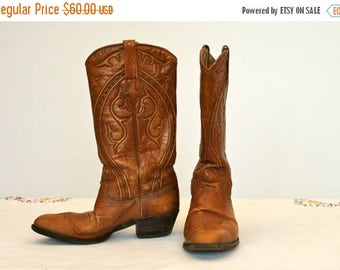 20% OFF SALE Western Boots, Cowboy Boots, All Leather Boots, Women's Size 5, Ladies Boots