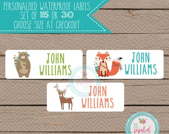 Personalized Waterproof Label Stickers - tribal woodland - Perfect for Bottles, Sippy Cups, Daycare, School - 107