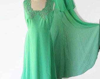 On Sale 70s Miss Rubette Plus Size Dress Vintage Wedding Green Chiffon Caplet Maxi