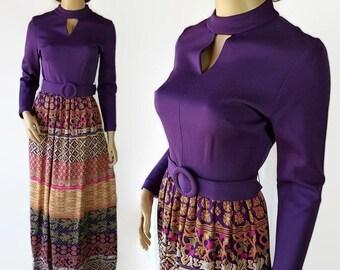 40%OFFSALE 60s 70s Mod Maxi Dress Purple Novelty Print Hippie Boho