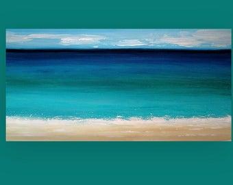 "Art, Large Painting, Original Abstract, Acrylic Paintings on Canvas by Ora Birenbaum Titled: Coastal Dream 24x48x1.5"""