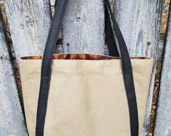 Tote Bag with Leather Handles and Leather Bottom