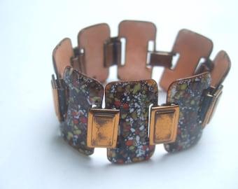 1950s Copper Enamel Link Bracelet