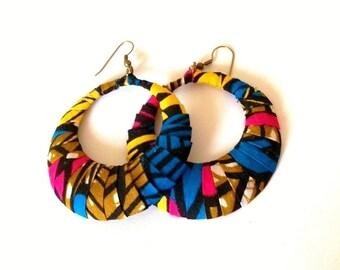 Traditional African Print Wrapped Fan-Shaped Hoop Earrings