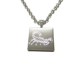 Silver Toned Etched Scorpion Necklace