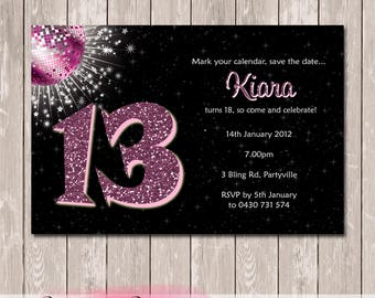Glitter Bling Photo Personalised Birthday Invitation - YOU PRINT