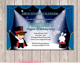 Magician Magical Magic Personalised Birthday Invitation - YOU PRINT