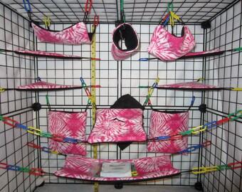 17  Pc  -  Light Pink Tie Dye - Sugar Glider Cage Set