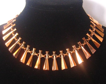 """SALE RENOIR Copper Modernist Necklace has 29 Angular Dangle Links Attached by Book Links.  Cleopatra Wide Collar Look.  Adjusts from 14-18""""."""