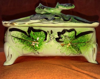 Green and White Trinket Box with lid